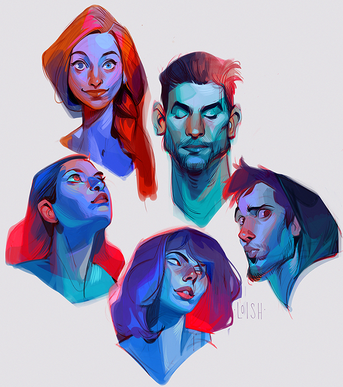 colorful heads
