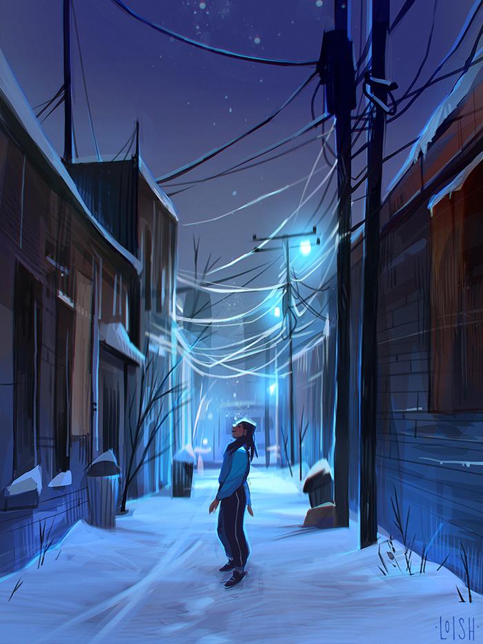 snowy alleyway